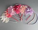 Обручи для волос с коронами и фатином цветные 12 шт/уп, фото 4