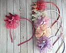 Обручи для волос с коронами и фатином цветные 12 шт/уп, фото 5
