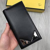 095a1f00f753 Кожаный кошелек Fendi Monster Eyes черный клатч с глазами кожа мужской женский  портмоне бумажник Фенди реплика