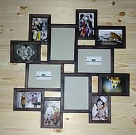 Деревянная эко мультирамка, коллаж #212 венге, орех, белый, чёрный., фото 1