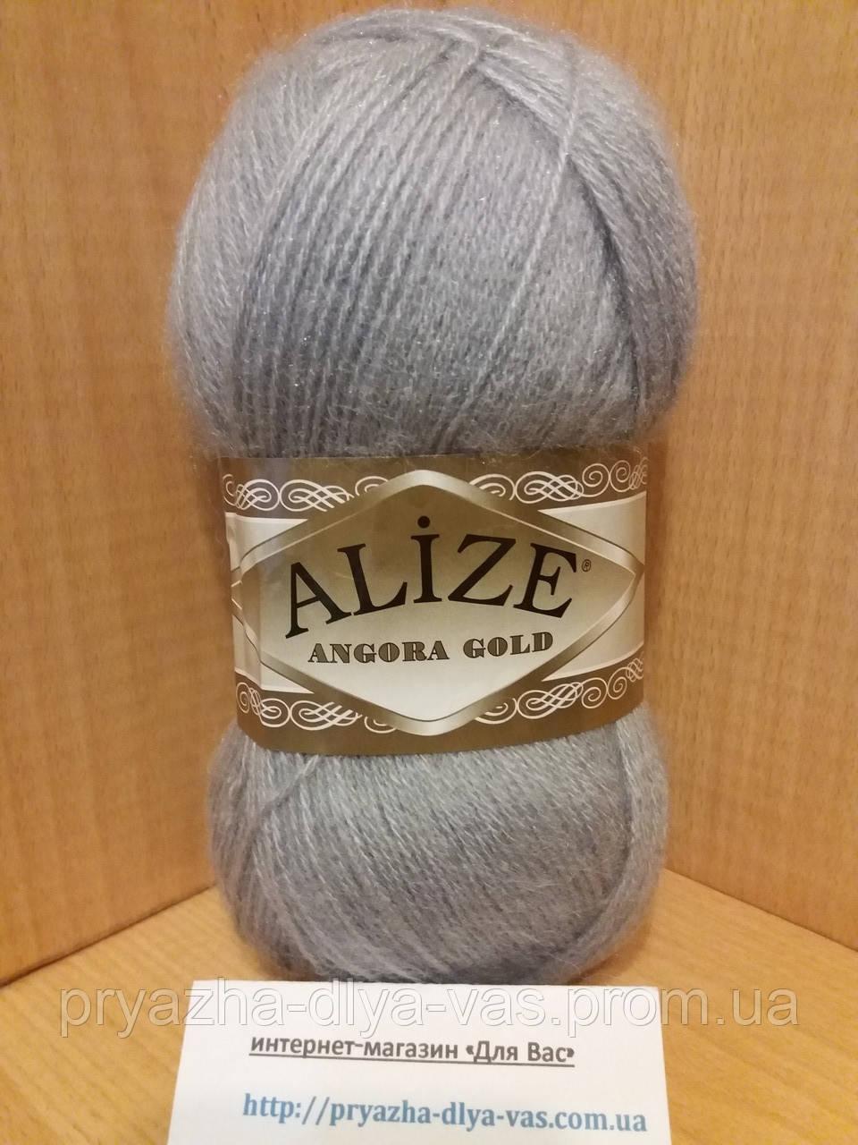 Зимняя пряжа (20% шерсть, 80% акрил; 100г/550м) Alize Angora Gold 21(серый)