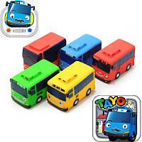 """Автобуси з мультфільму """"Пригоди Тайо"""" в сітці, 5 автобусів, імітація коліс, розміри 4,5*7*4,5 см"""