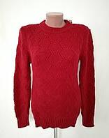 Свитер женский вязаный с узором 7011 - в бордовом цвете, фото 1