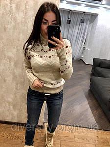 """Женский вязаный свитер под горло """"Зимний узор"""", 6 цветов"""