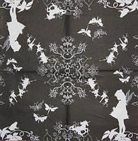 Салфетка декупажная Фея и бабочки на чёрном фоне 1525