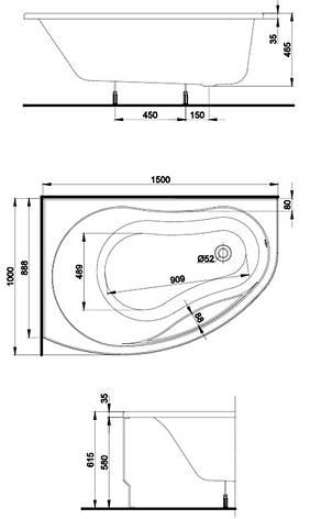 PROMISE ванна асимметричная 150*100 см, левая, белая, с ножками SN7, фото 2