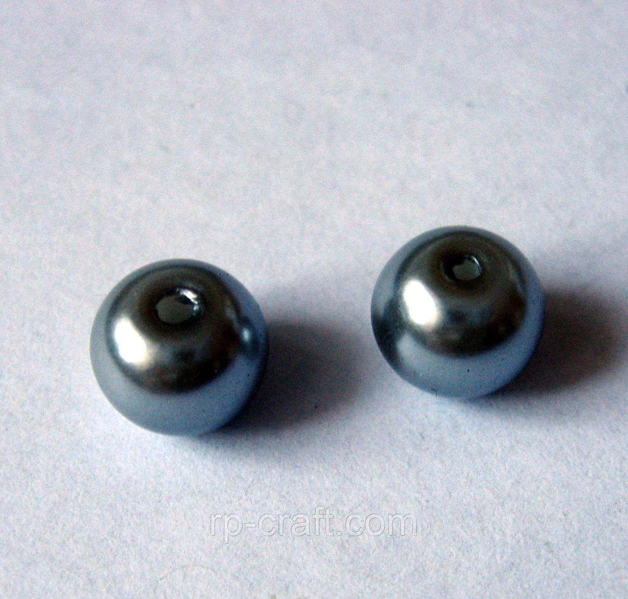 Намистина скляна, перли, сірий, 8 мм