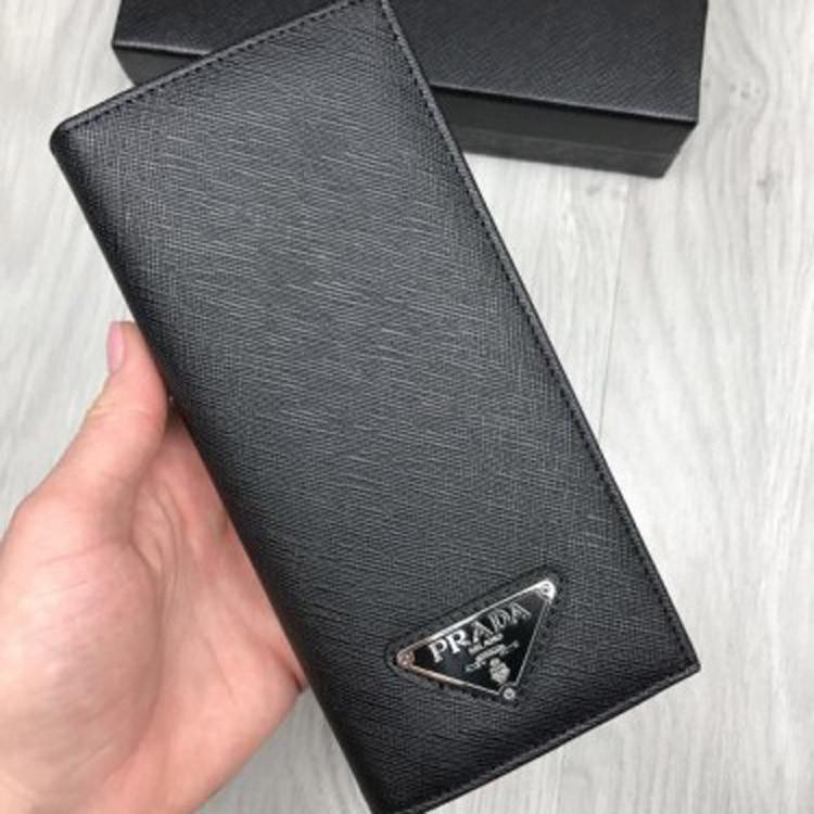 7496fd288f53 Модный кожаный кошелек Prada черный клатч женский мужской кожа бумажник  портмоне Прада качественная реплика - Ваш