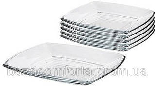 Набір квадратних скляних тарілок Pasabahce Tokio 6шт 265*265мм
