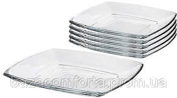 Набор квадратных стеклянных тарелок Pasabahce Tokio 6шт 265*265мм , фото 2