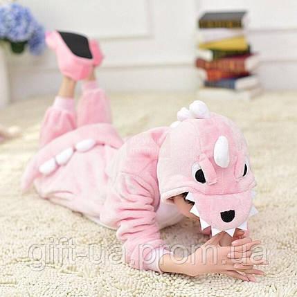Пижама Кигуруми детский размер Розовый дракон ( Kigurumi розовый динозавр ) кигуруми  динозавр для девочки f04491ba644c1