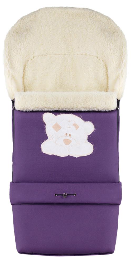 Зимний конверт Qvatro №20 с удлинением  фиолетовый (мордочка мишки штопаная)