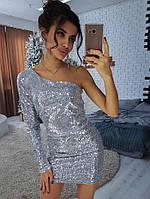 Эффектное женское платье-футляр (пайетки, мини, открытые плечи, один длинный рукав) РАЗНЫЕ ЦВЕТА!, фото 1