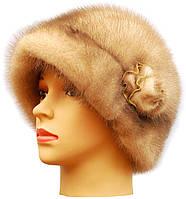 Меховая шляпа женская из норки Роза 2  цвет колотый лед