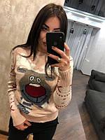 """Женский шерстяной свитер без горла """"Модный олень"""",пудра.Турция., фото 1"""