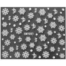 KATTi Наклейки клейкие малые Белые Новый Год SMY 051 снежинки 1шт