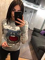 """Женский шерстяной свитер без горла """"Модный олень"""", светло серый.Турция., фото 1"""