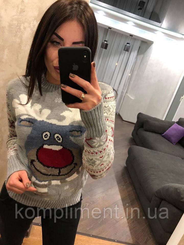 """Женский шерстяной свитер без горла """"Модный олень"""", светло серый.Турция."""
