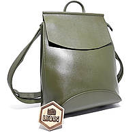 Классический большой удобный рюкзак-сумка для повседневной носки Оливкового цвета (зеленый)