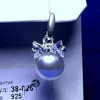 Серебряный кулон с цирконием и жемчужиной Бантик 38-026, фото 1