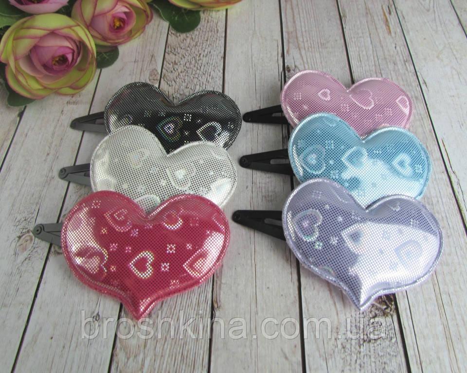 Заколки для волос Сердечки голограмма 12 шт/уп