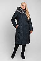 Классическая женская зимняя куртка с капюшоном (50-60)морская волна