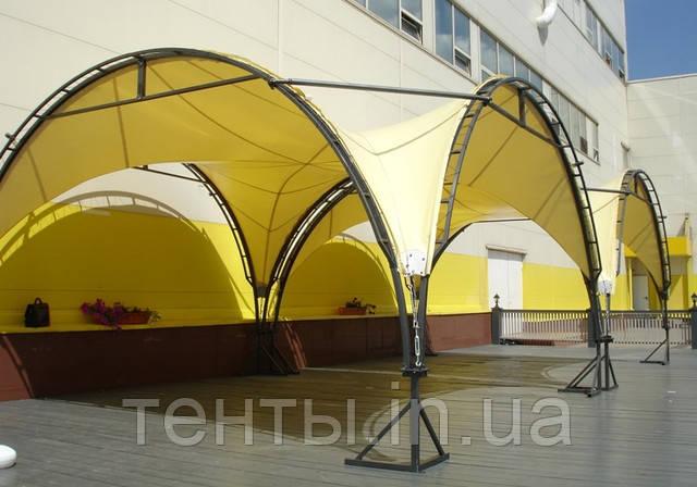 Навес для летней площадки кафе типа тензаформа