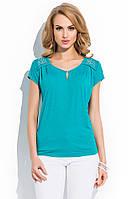 Блуза женская летняя бирюзового цвета с коротким рукавом. Модель R85 Sunwear коллекция весна-лето 2015