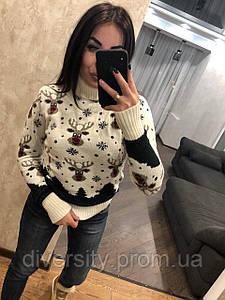 Стильный вязаный свитер под горло с оленями, 5 цветов