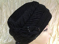 Зимняя женская объемная шапка -берет цвет черный