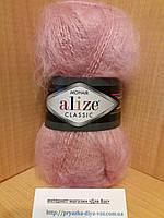 Мохеровая пряжа (100г/200м, 25%-мохер, 24%-шерсть, 51%-акрил) Alize Mohair Classic 161(пудра)