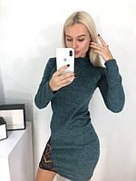 a19afae5fb3 Теплое ангоровое платье гольф с кружевом Viola скл.10 арт.877 темно-зеленый
