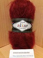Мохеровая пряжа (100г/200м, 25%-мохер, 24%-шерсть, 51%-акрил) Alize Mohair Classic 57(бордо)