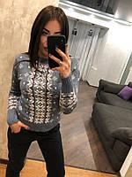 """Женский шерстяной свитер без горла """"Зимний орнамент"""",голубой.Турция., фото 1"""