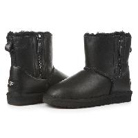 Женские угги UGG Mini Zip leather black original, фото 1
