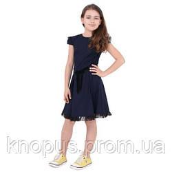 Платье для девочки с коротким рукавом льняное, синее/черное, Timbo