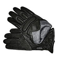 Перчатки тактические кожаные черные (утепленные)