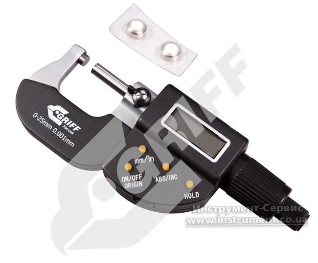 Микрометр гладкий цифровой МКЦ- 25 (0-25) 0,001 GRIFF
