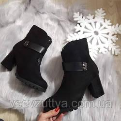 Черевики жіночі чорні зимові на каблуку. Тільки 35,36,37,40 розмір!
