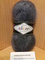 Мохеровая пряжа (100г/200м, 25%-мохер, 24%-шерсть, 51%-акрил) Alize Mohair Classic 87(угольно-серый)