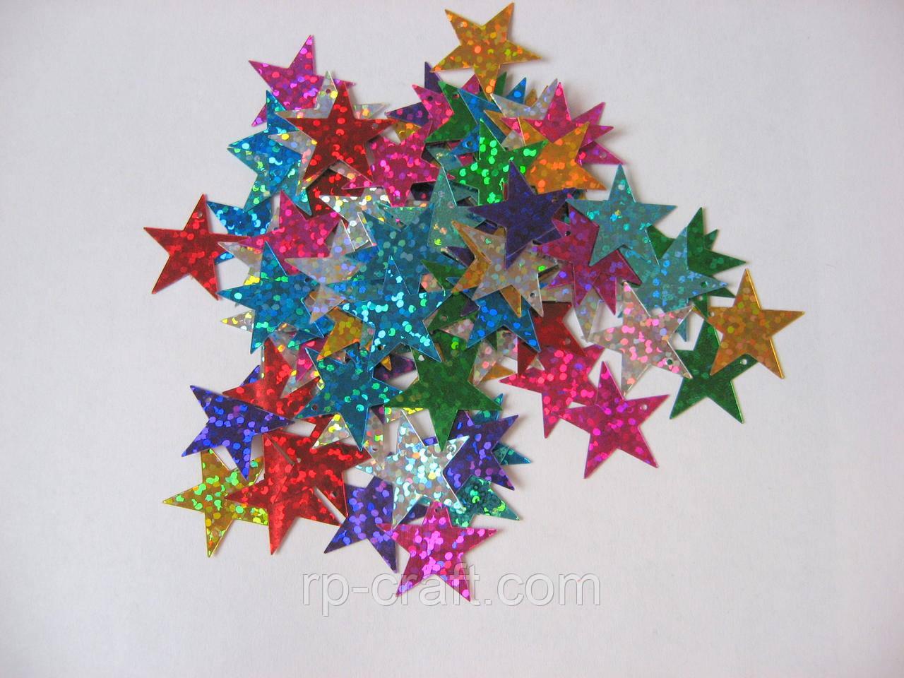 Упаковка пайеток. Плоские, звезда, 20 мм, 5 грамм, микс цветов