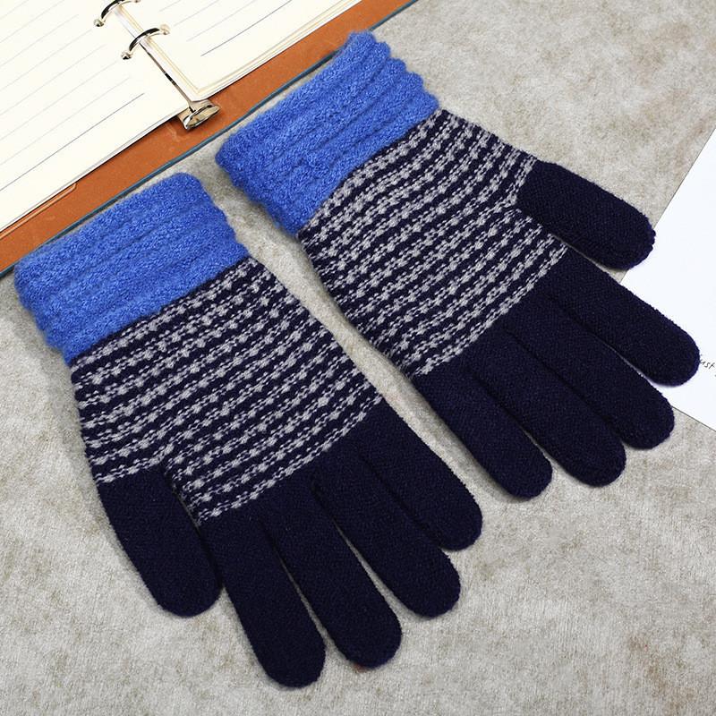 Зимние женские перчатки голубые в полоску опт