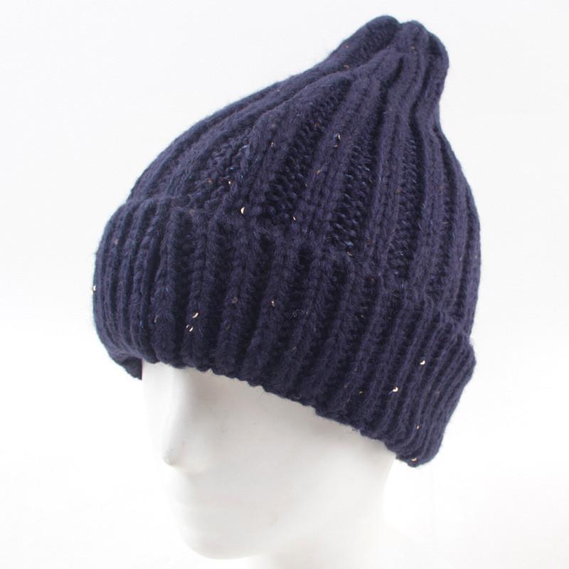 Зимняя вязаная женская шапка синяя