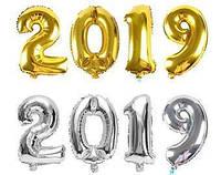 Воздушные шары фольгированные, золото цифры 2019