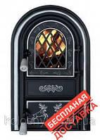 Дверцы печные со стеклом Олени хром. Дверцята для кухні, барбекю. БЕСПЛАТНАЯ ДОСТАВКА
