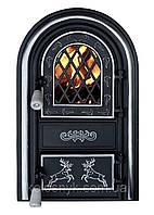 Дверцы печные со стеклом Олени хром. Дверцы для печи и барбекю