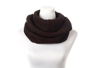 Снуд шарф-хомут вязаный коричневый