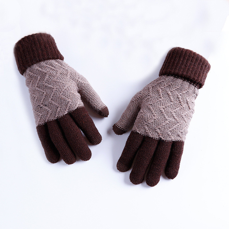 Зимние шерстяные перчатки мужские коричневые