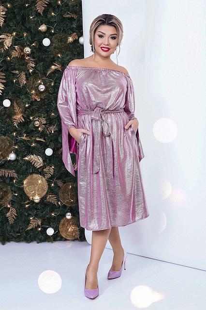 Стильное платье с открытыми плечами 40622 (50–60р) в расцветках , фото 7