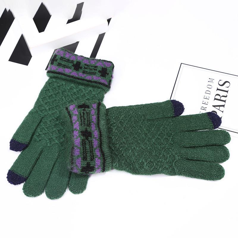 Зимние женские перчатки с сенсорными пальчиками и рисунком зеленые опт